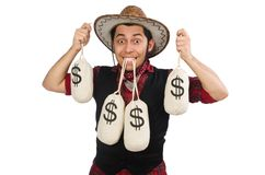 Young cowboy with money bags isolated on the white Stock Photography