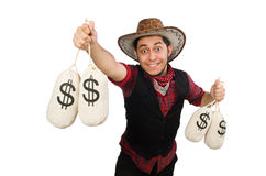 Young cowboy with money bags isolated on white Stock Image