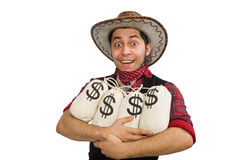 Young cowboy with money bags isolated on white Royalty Free Stock Photo