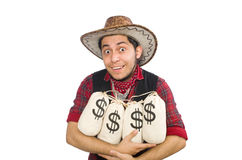 Young cowboy with money bags isolated on white Royalty Free Stock Photography