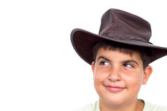 Young Cowboy, smiling. Young cowboy smiling, looking up, on white background Royalty Free Stock Images
