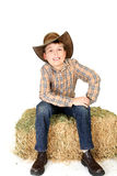 Young cowboy on straw bale Stock Image