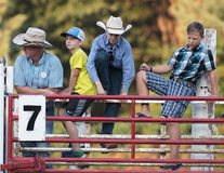Young Cowboys. Watch the action at the Scott Valley Pleasure Park Rodeo in Etna, California stock image
