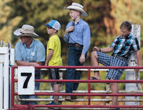 Young Cowboys. Watch the action at the Scott Valley Pleasure Park Rodeo in Etna, California royalty free stock photo