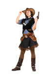 Young cowgirl with a gun stock images