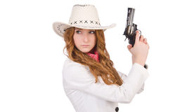 Young   cowgirl with gun Stock Photo