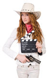Young   cowgirl with gun Royalty Free Stock Photography