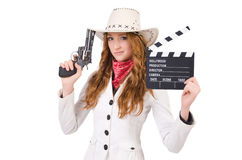 Young   cowgirl with gun Royalty Free Stock Images