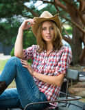 Young cowgirl in hat Stock Image