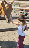 Young Cowgirl and Her Horse. Small cowgirl at a ranch petting her palomino horse royalty free stock images