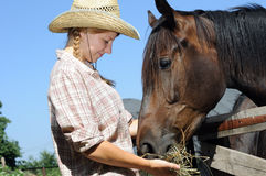 Young cowgirl and horse in the farm Royalty Free Stock Images