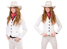The young cowgirl isolated on white. Young cowgirl isolated on white Stock Photos