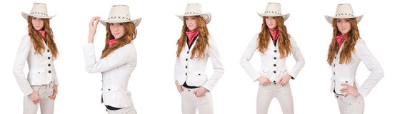 The young cowgirl isolated on white. Young cowgirl isolated on white Royalty Free Stock Images