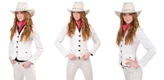 The young cowgirl isolated on white. Young cowgirl isolated on white Stock Photo