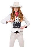Young   cowgirl  with movie board Stock Image
