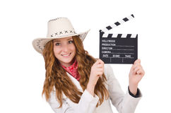 Young   cowgirl  with movie board Stock Photos