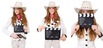 The young   cowgirl  with movie board isolated on white Stock Photos