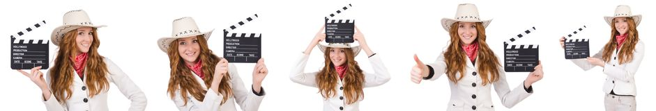 The young   cowgirl  with movie board isolated on white Royalty Free Stock Image