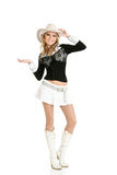 Young cowgirl woman dancing Royalty Free Stock Photo