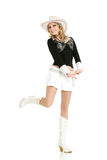 Young cowgirl woman dancing Royalty Free Stock Images