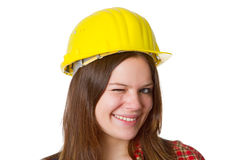 Young craftswoman blink eye Royalty Free Stock Image