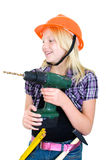 Young Craftswoman with cordless drill Royalty Free Stock Images
