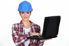 Young craftswoman with laptop Stock Photos