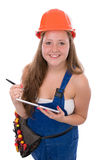 Young Craftswoman with toolbelt ind tablet isolated Stock Image