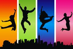 Young and crazy. Young happy people silhouettes jumping against the urban colored scene vector illustration