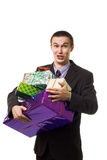 Young crazy man with many presents Stock Photography
