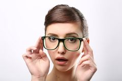 Young crazy nerd woman Stock Images