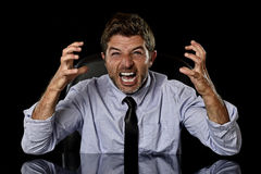 Young crazy stressed businessman in worried tired face expression screaming desperate Stock Images
