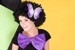 Young crazy woman with afro hair Stock Photo