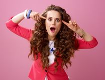 Young crazy woman isolated on pink background Royalty Free Stock Photography