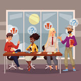 Young creative business people discussing ideas in office. Sketch style vector illustration. Multiethnic group of young people working together at the table stock illustration