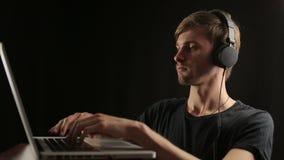 Young creative dj adult composing music mix set stock video