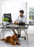 Young creative with his dog at office. Portrait of young creative man sitting at designer studio in front of laptop and making notes while his dog lies at her stock photography