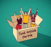 Young creative people group team in box color Royalty Free Stock Photography