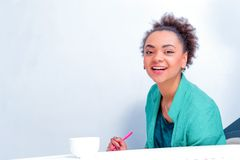 Young creative woman at brainstorming Stock Photography