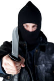 Young Criminal with Knife Royalty Free Stock Photography
