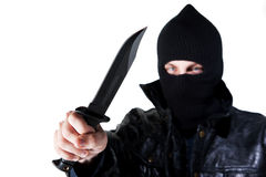 Young Criminal with Knife Royalty Free Stock Photos