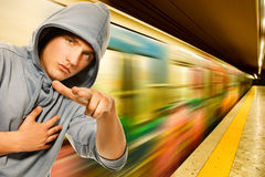 Young criminal in subway Royalty Free Stock Photo