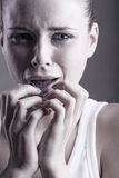 Girl in tears royalty free stock photography