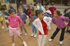 Young Cuban girls exercising in Old Havana, Cuba Royalty Free Stock Photos