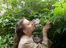Young curly girl in beige cloak is standing near blooming lilac bush and sniffing flowers. Stock Photo