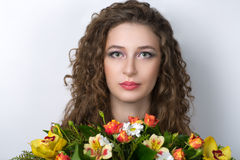 Young curly woman Stock Photo