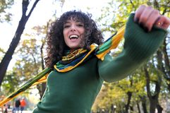 Young curly woman smiling Stock Photography