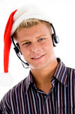 Young customer executive with christmas hat Stock Image