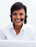 Young customer service agent with headset on Royalty Free Stock Images