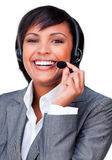 Young customer service agent with headset on stock photo